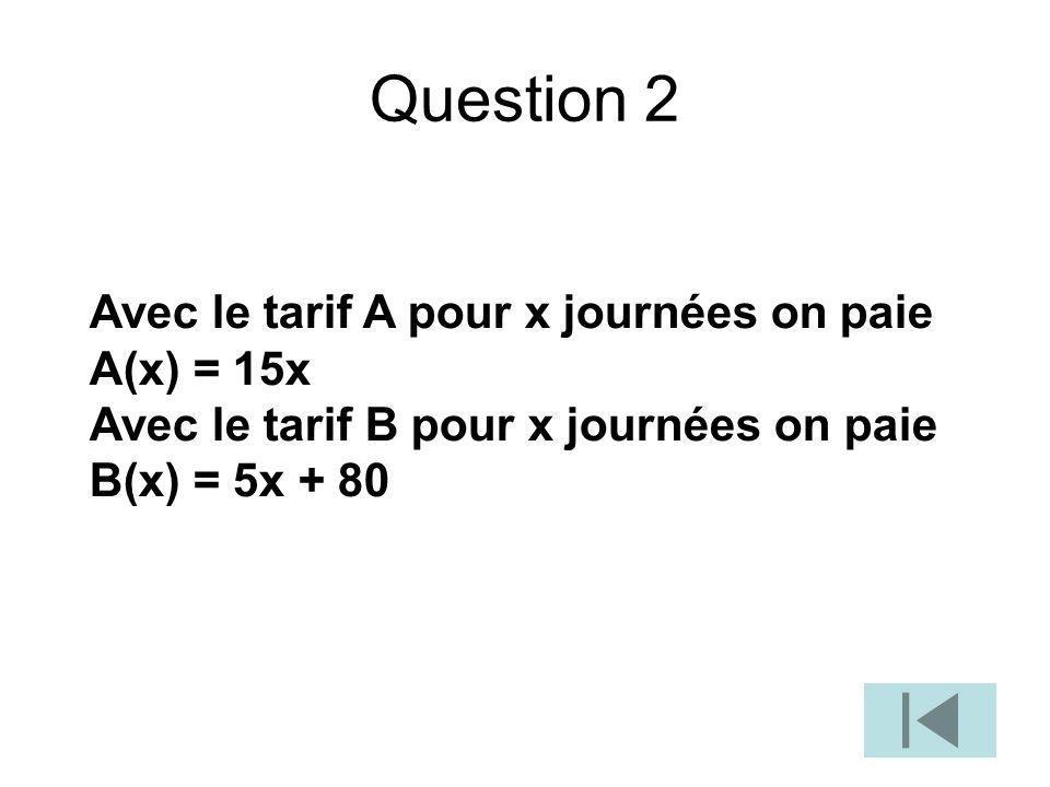 Question 2 Avec le tarif A pour x journées on paie A(x) = 15x