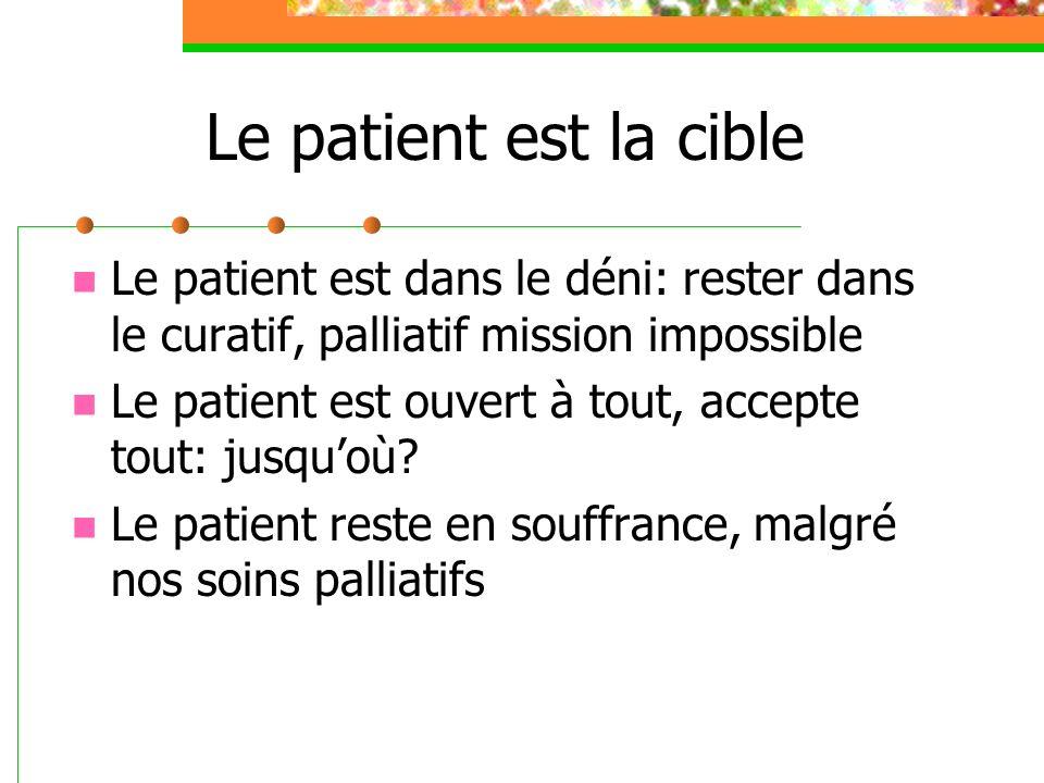 Le patient est la cible Le patient est dans le déni: rester dans le curatif, palliatif mission impossible.