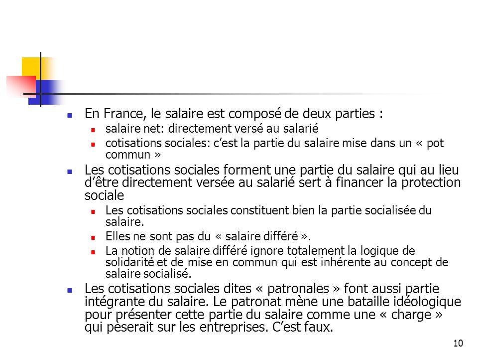 En France, le salaire est composé de deux parties :