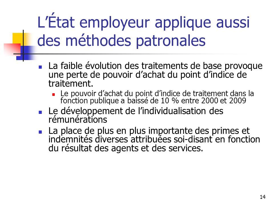 L'État employeur applique aussi des méthodes patronales