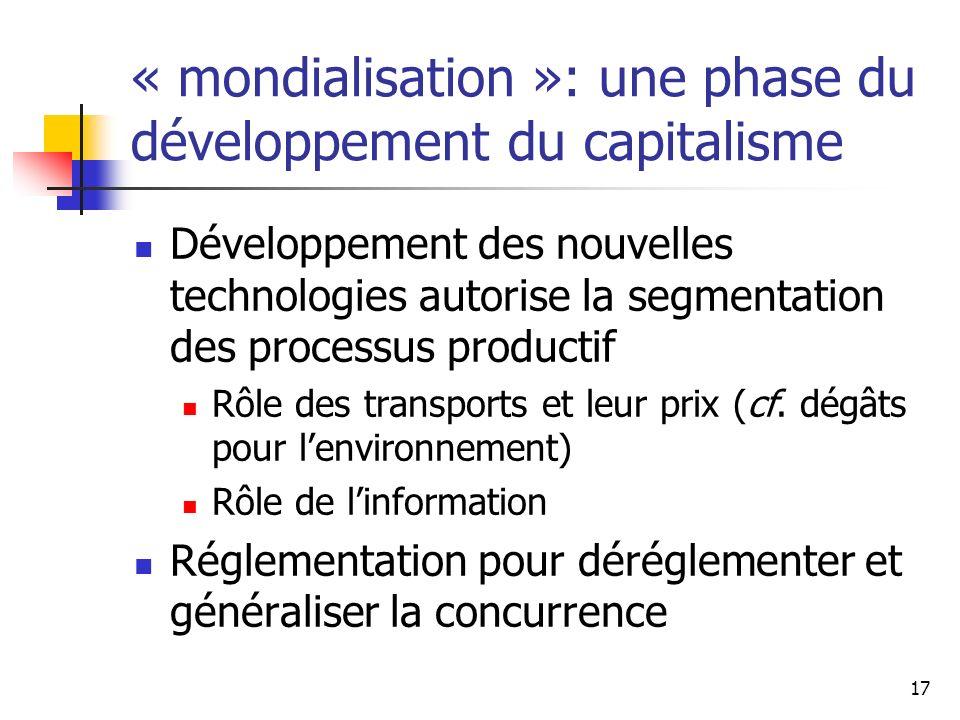 « mondialisation »: une phase du développement du capitalisme
