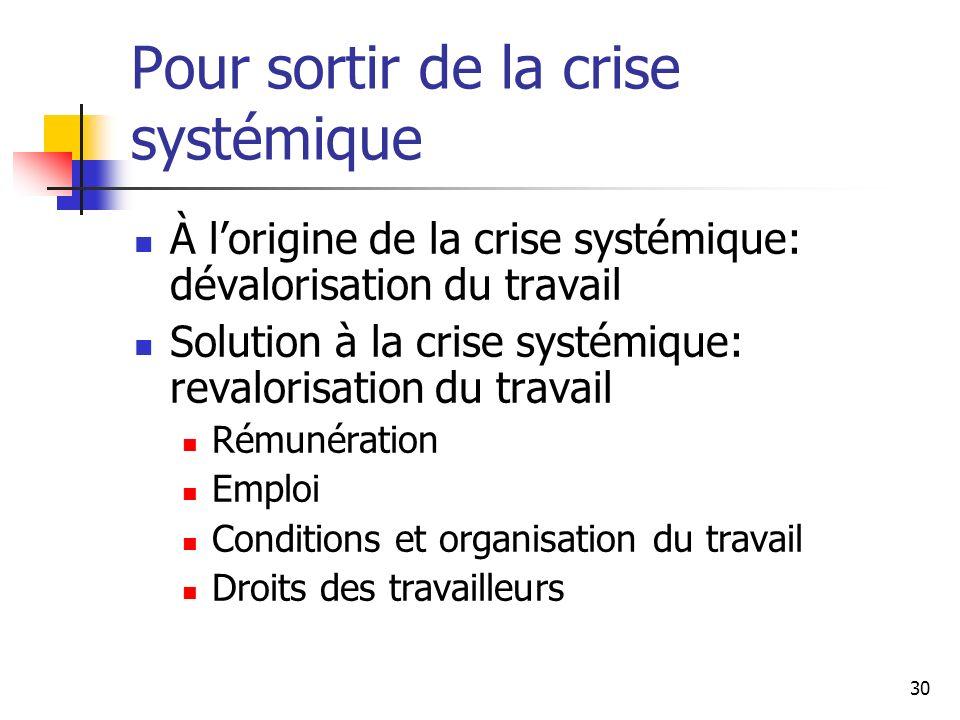 Pour sortir de la crise systémique
