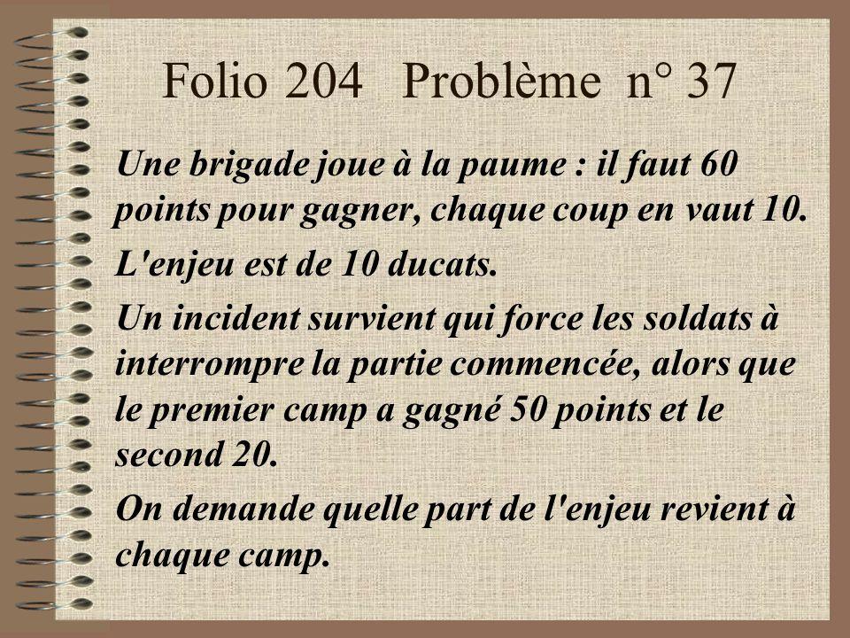 Folio 204 Problème n° 37 Une brigade joue à la paume : il faut 60 points pour gagner, chaque coup en vaut 10.