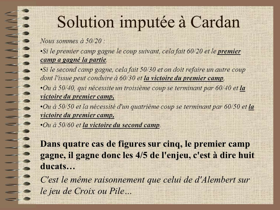 Solution imputée à Cardan