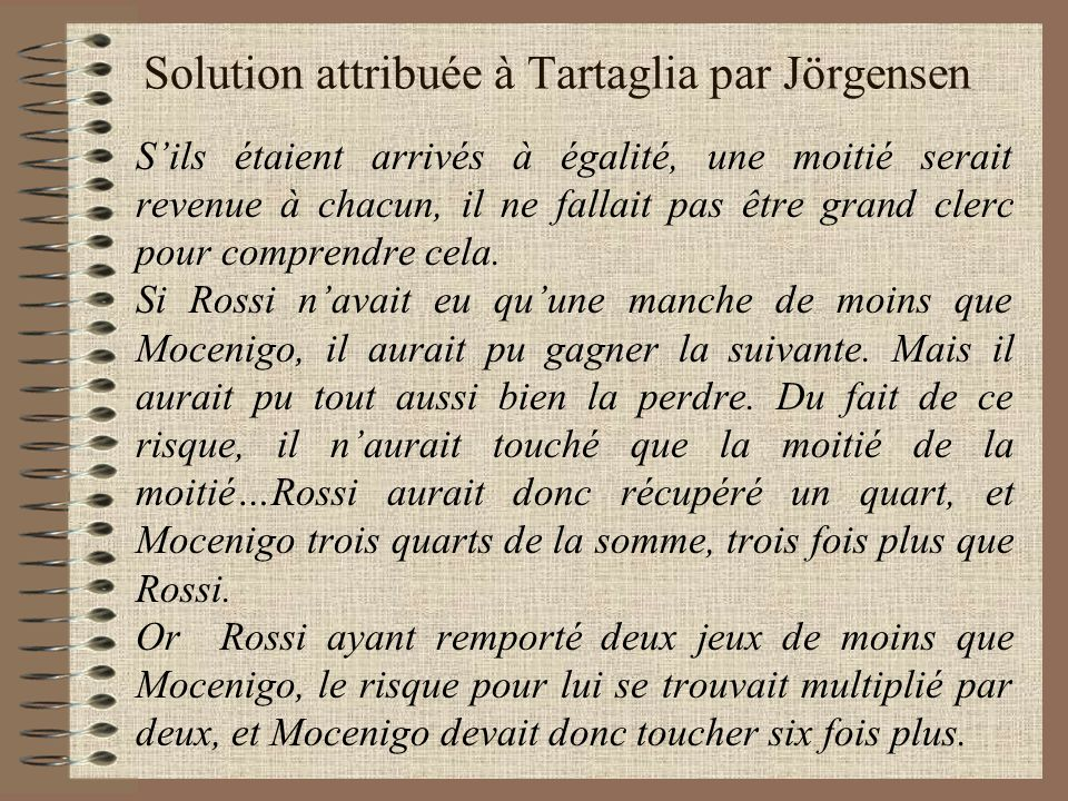 Solution attribuée à Tartaglia par Jörgensen