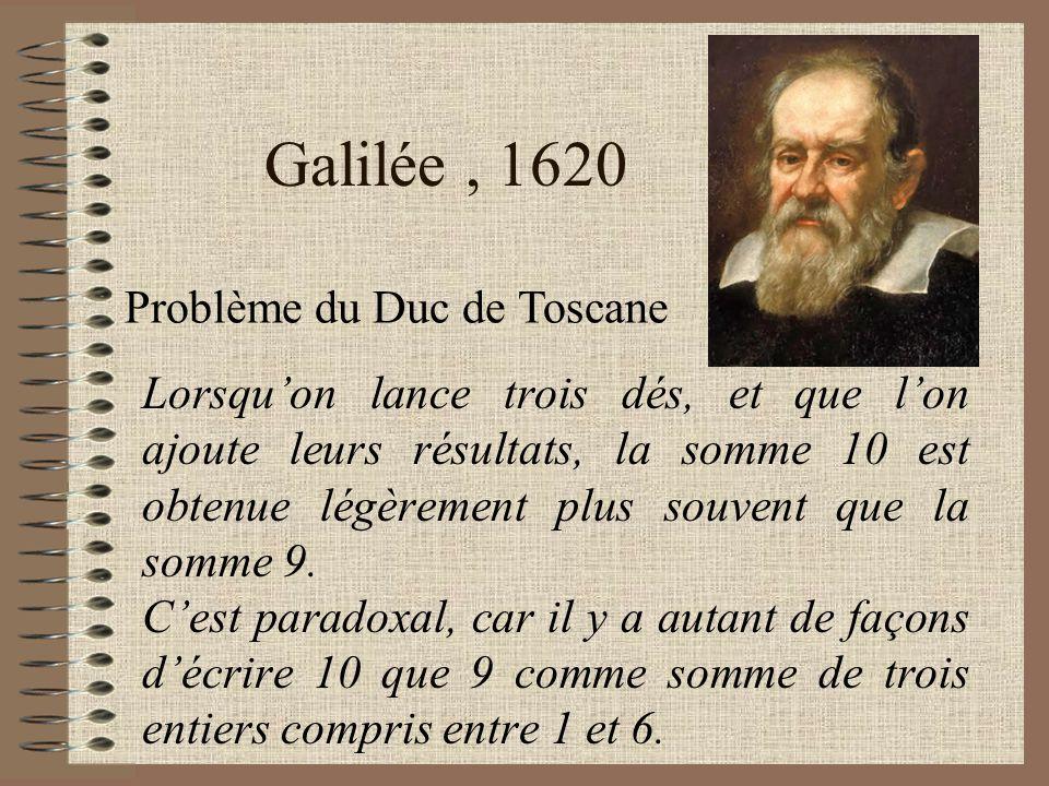 Galilée , 1620 Problème du Duc de Toscane