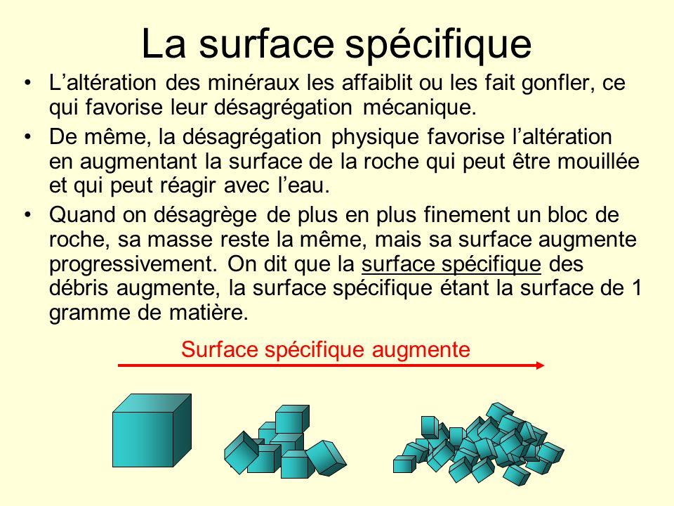 La surface spécifique L'altération des minéraux les affaiblit ou les fait gonfler, ce qui favorise leur désagrégation mécanique.