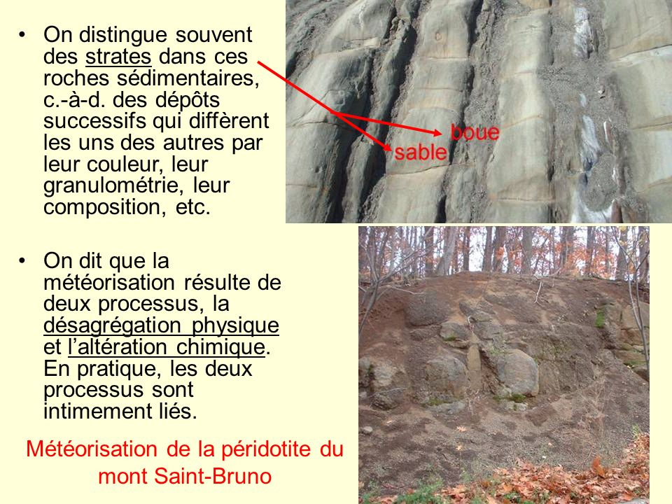 Météorisation de la péridotite du mont Saint-Bruno
