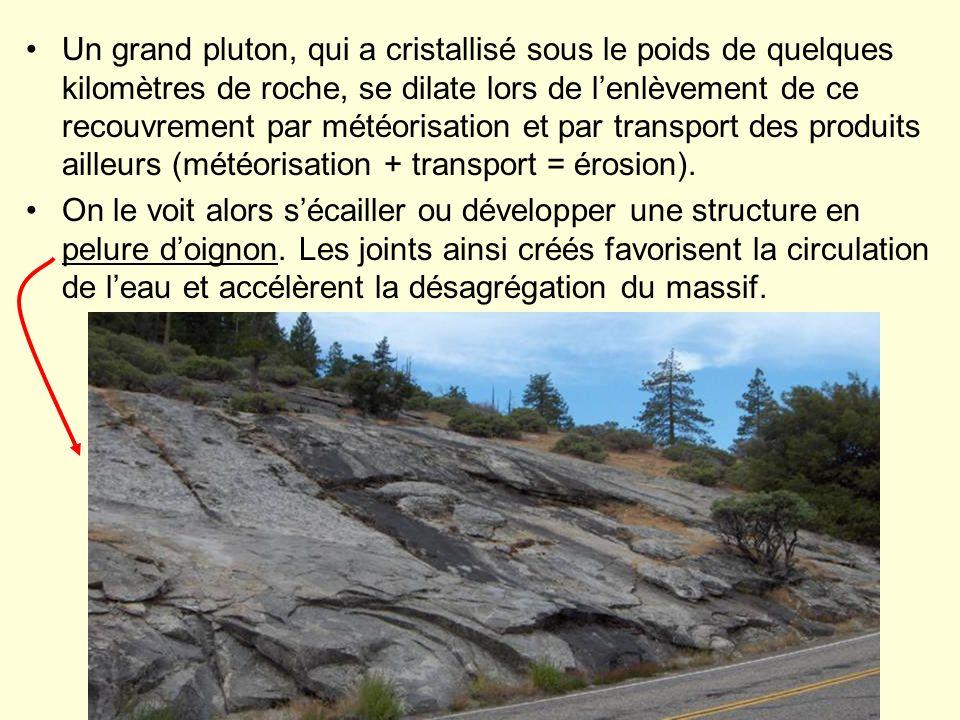 Un grand pluton, qui a cristallisé sous le poids de quelques kilomètres de roche, se dilate lors de l'enlèvement de ce recouvrement par météorisation et par transport des produits ailleurs (météorisation + transport = érosion).