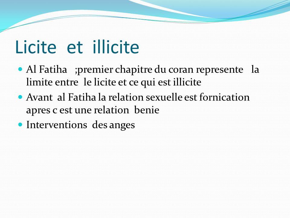 Licite et illicite Al Fatiha ;premier chapitre du coran represente la limite entre le licite et ce qui est illicite.