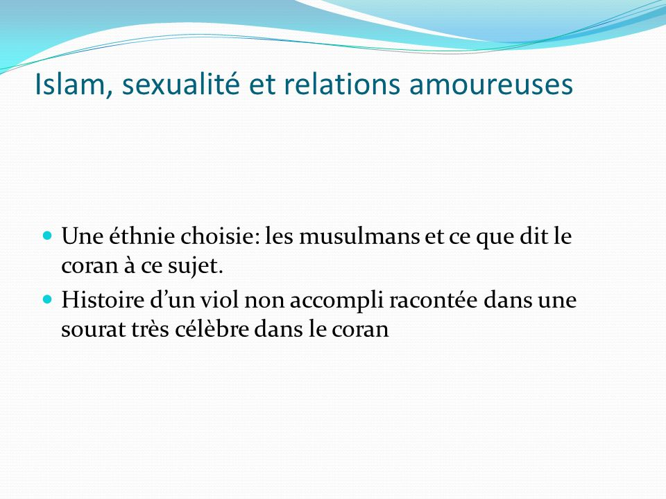 Islam, sexualité et relations amoureuses