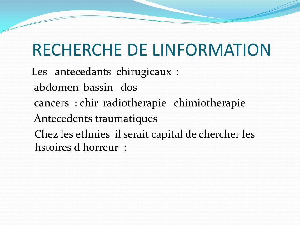 RECHERCHE DE LINFORMATION