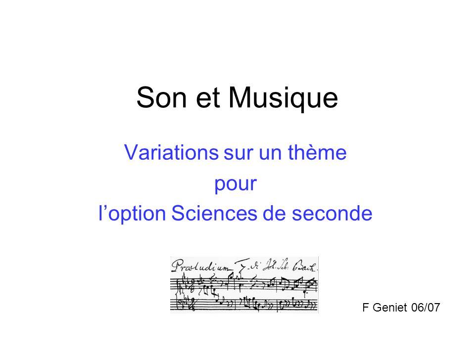 Variations sur un thème pour l'option Sciences de seconde