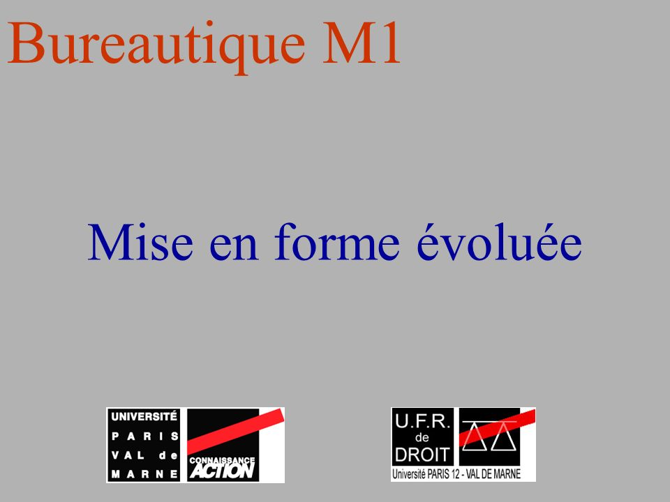 Bureautique M1 Mise en forme évoluée
