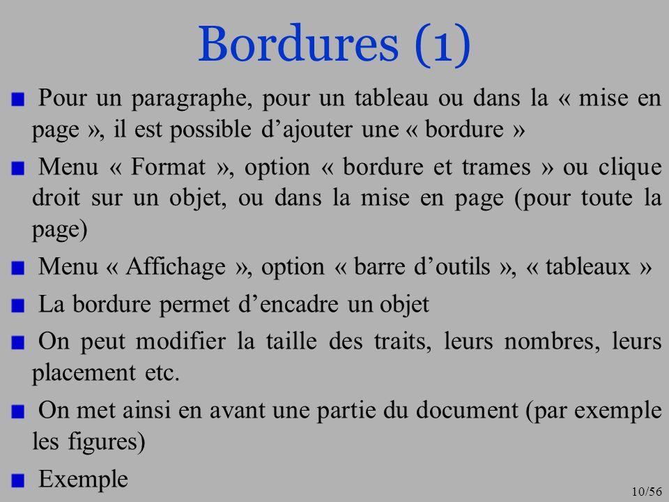 Bordures (1) Pour un paragraphe, pour un tableau ou dans la « mise en page », il est possible d'ajouter une « bordure »