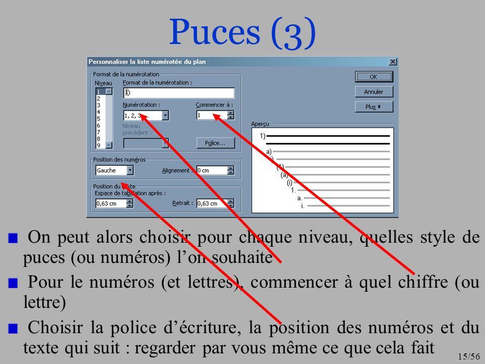 Puces (3) On peut alors choisir pour chaque niveau, quelles style de puces (ou numéros) l'on souhaite.