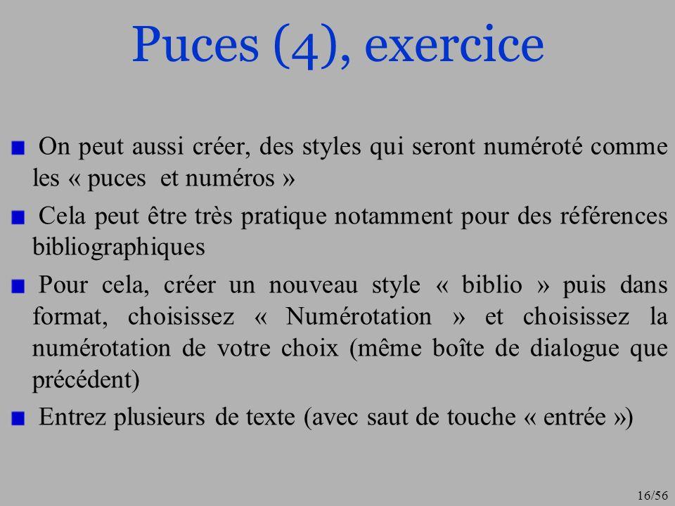 Puces (4), exercice On peut aussi créer, des styles qui seront numéroté comme les « puces et numéros »