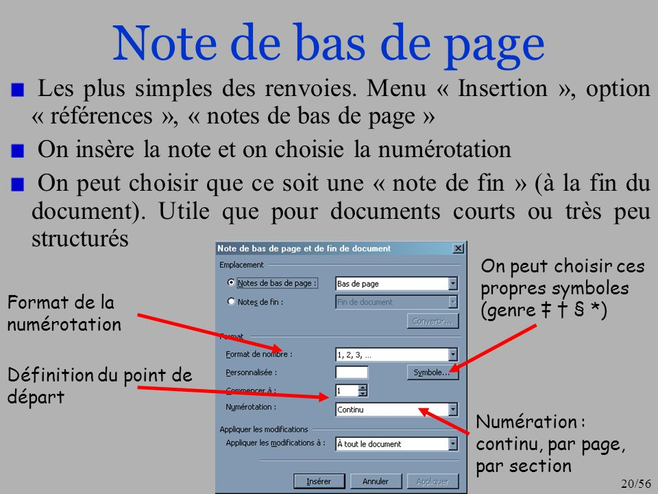 Note de bas de page Les plus simples des renvoies. Menu « Insertion », option « références », « notes de bas de page »