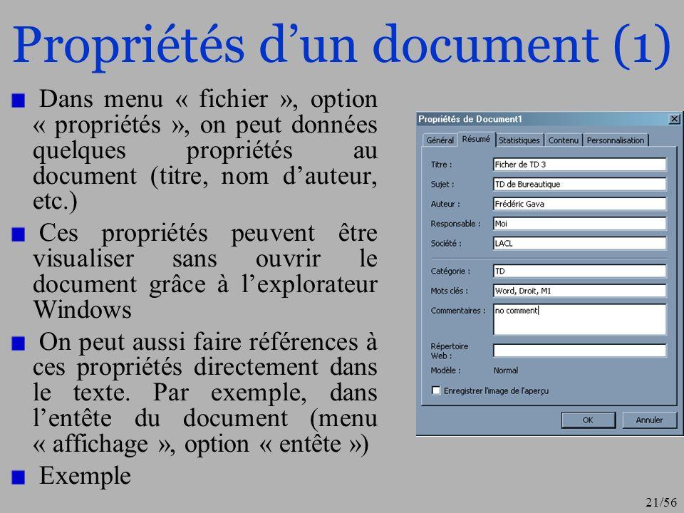 Propriétés d'un document (1)