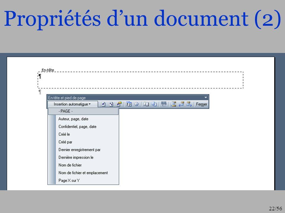 Propriétés d'un document (2)