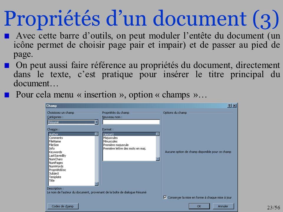 Propriétés d'un document (3)