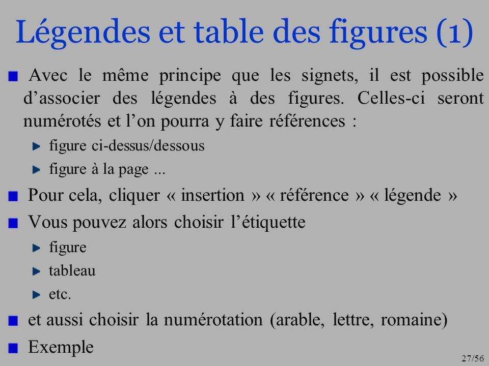 Légendes et table des figures (1)