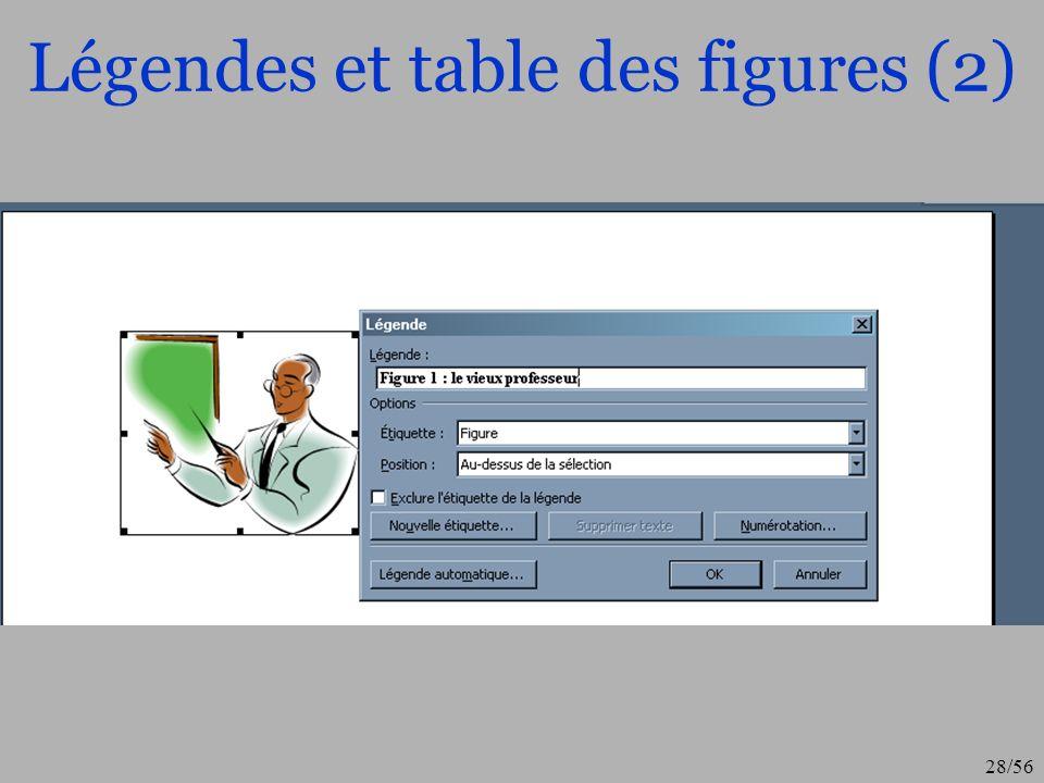Légendes et table des figures (2)