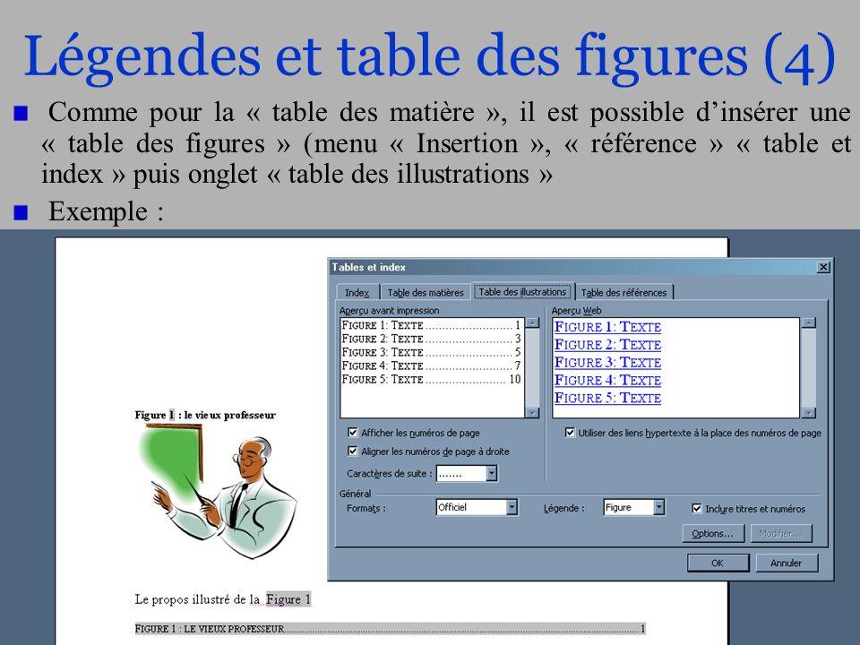 Légendes et table des figures (4)