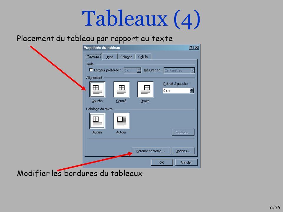 Tableaux (4) Placement du tableau par rapport au texte