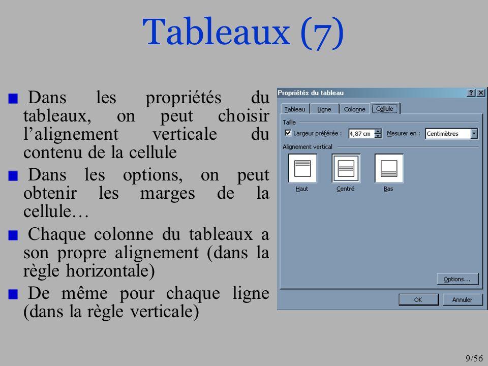 Tableaux (7) Dans les propriétés du tableaux, on peut choisir l'alignement verticale du contenu de la cellule.