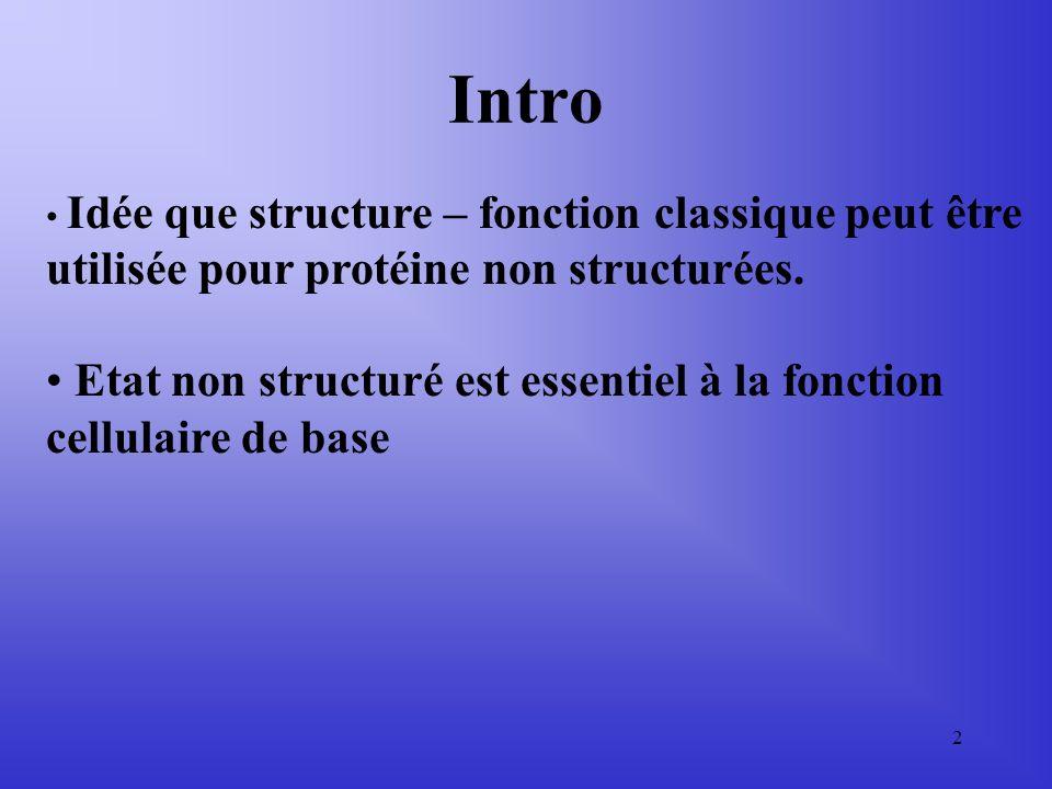 Intro Idée que structure – fonction classique peut être utilisée pour protéine non structurées.