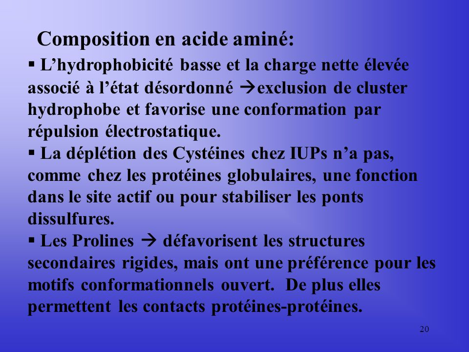 Composition en acide aminé: