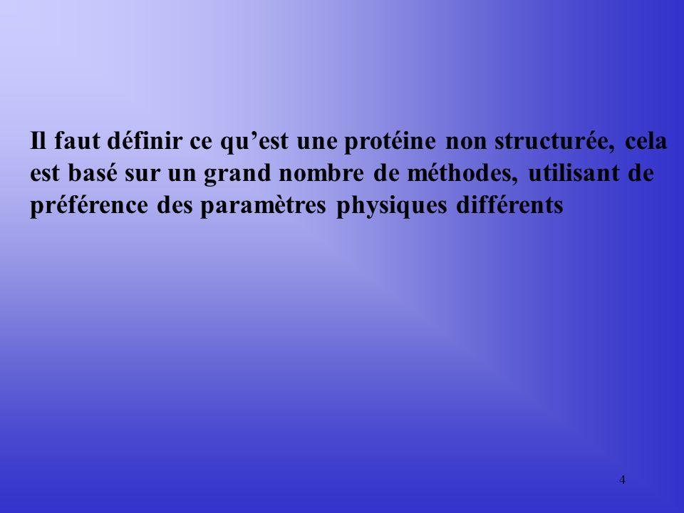Il faut définir ce qu'est une protéine non structurée, cela est basé sur un grand nombre de méthodes, utilisant de