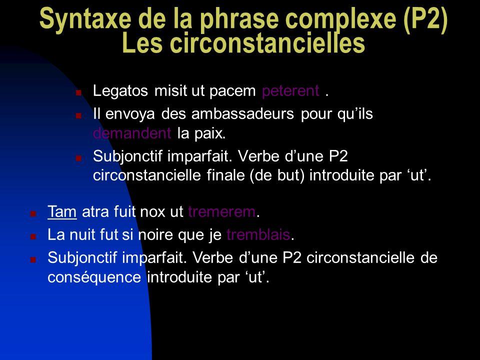 Syntaxe de la phrase complexe (P2) Les circonstancielles