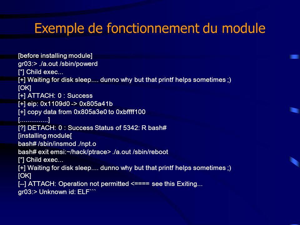 Exemple de fonctionnement du module