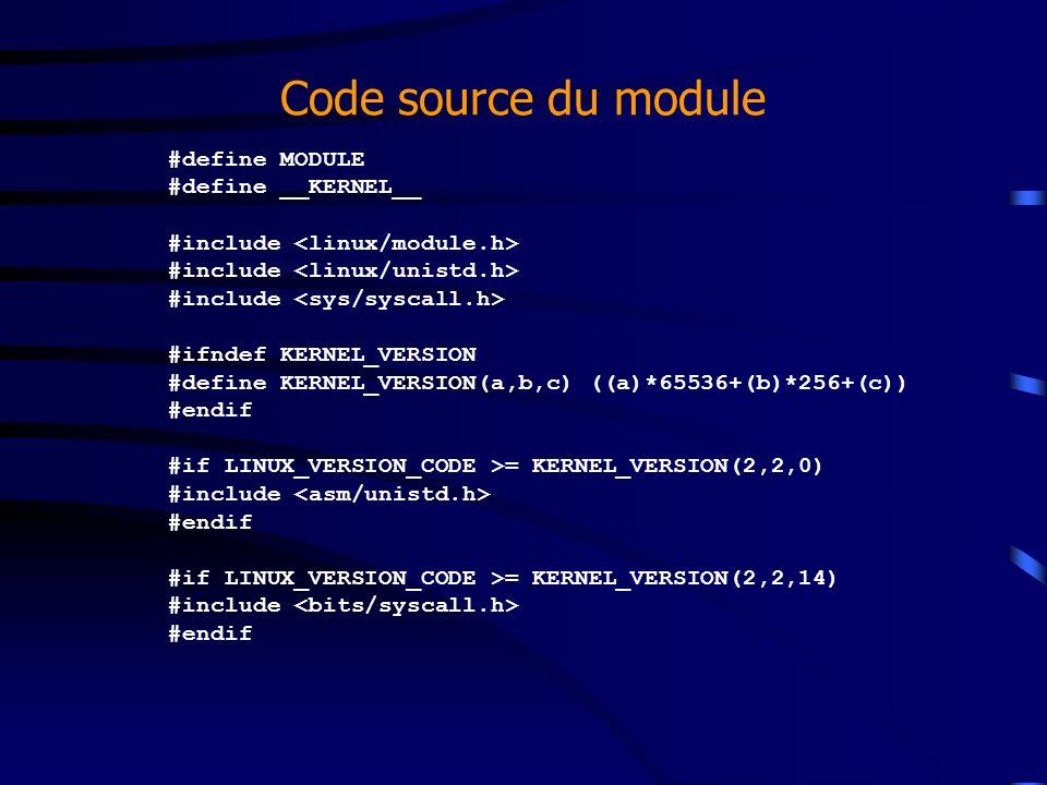Code source du module #define MODULE #define __KERNEL__