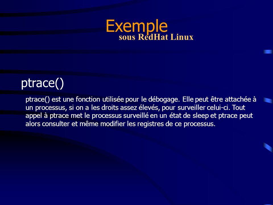 Exemple ptrace() sous RedHat Linux