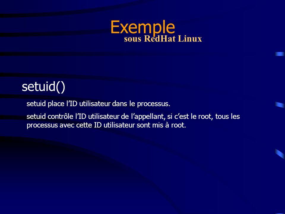 Exemple setuid() sous RedHat Linux