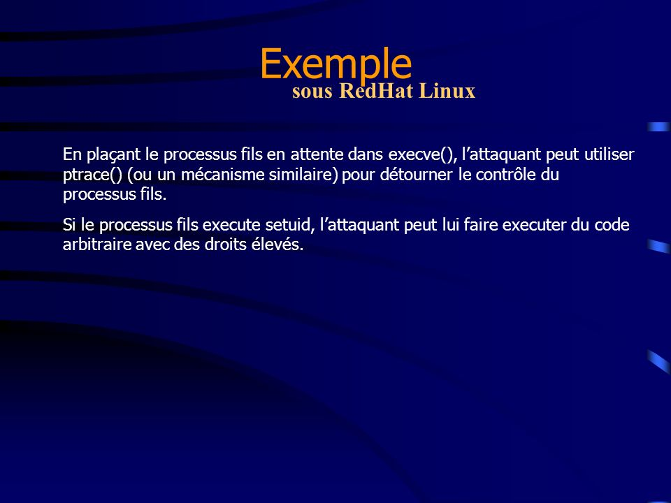 Exemple sous RedHat Linux