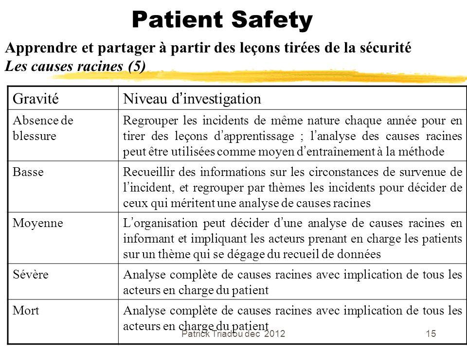Patient Safety Apprendre et partager à partir des leçons tirées de la sécurité. Les causes racines (5)