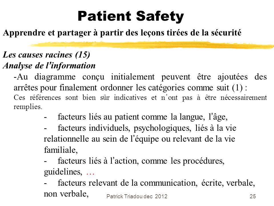 Patient Safety Apprendre et partager à partir des leçons tirées de la sécurité. Les causes racines (15)