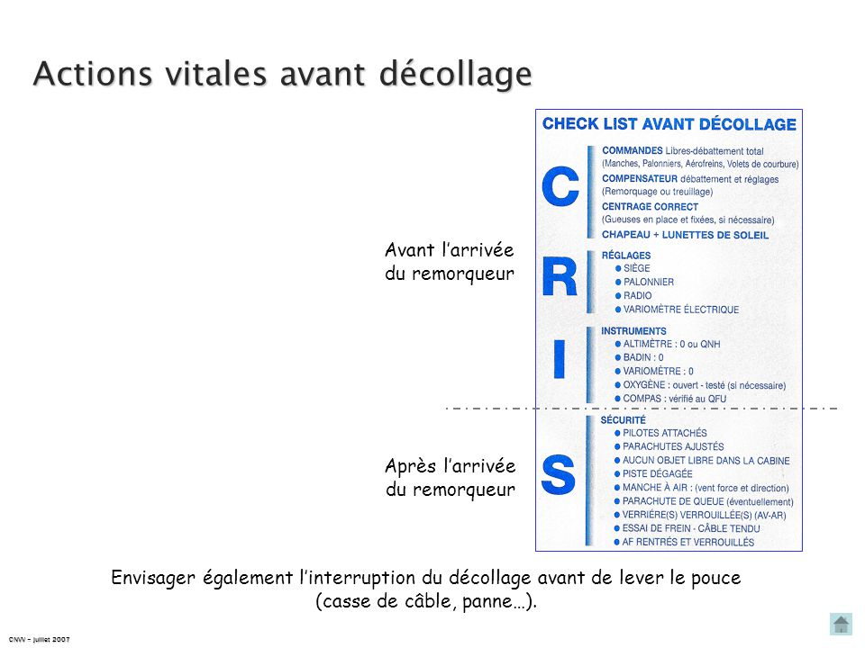 Actions vitales avant décollage