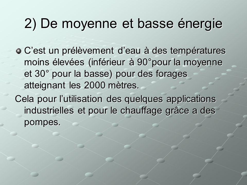 2) De moyenne et basse énergie