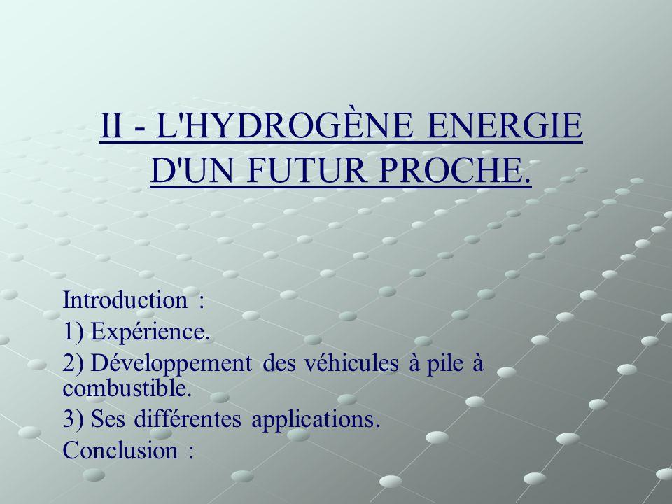 II - L HYDROGÈNE ENERGIE D UN FUTUR PROCHE.