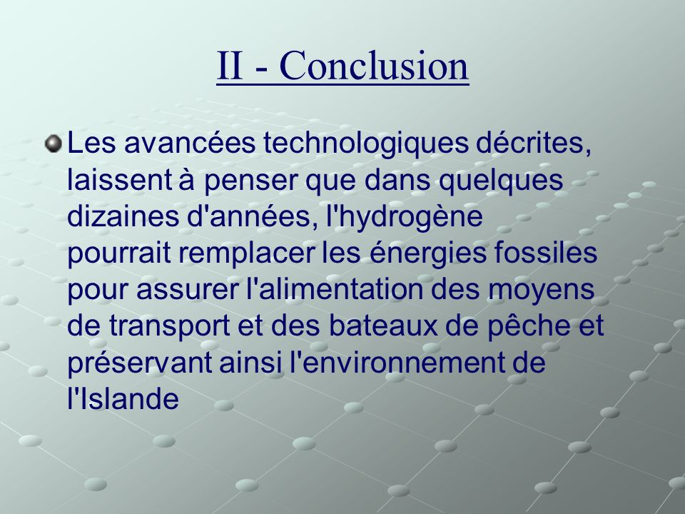 II - Conclusion