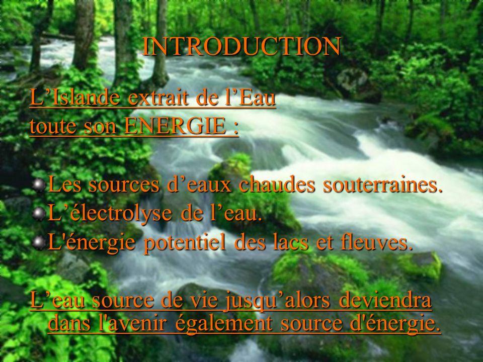 INTRODUCTION L'Islande extrait de l'Eau toute son ENERGIE :