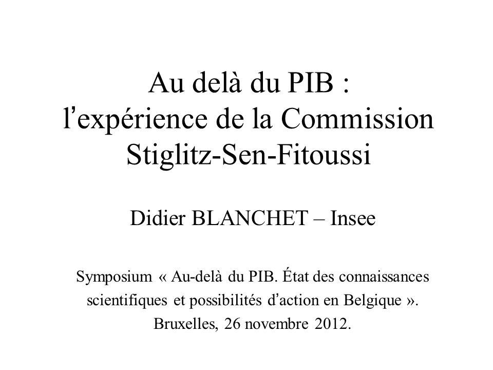 Au delà du PIB : l'expérience de la Commission Stiglitz-Sen-Fitoussi
