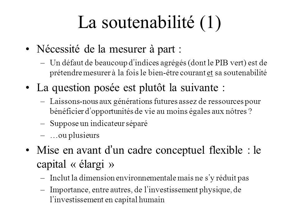 La soutenabilité (1) Nécessité de la mesurer à part :