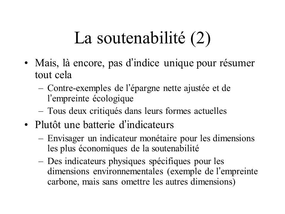 La soutenabilité (2) Mais, là encore, pas d'indice unique pour résumer tout cela.
