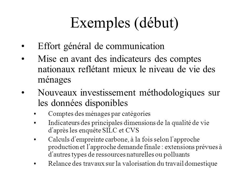 Exemples (début) Effort général de communication